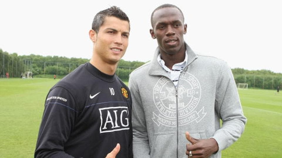 Cristiano Ronaldo and Usain Bolt at Carrington Training Ground in 2009.