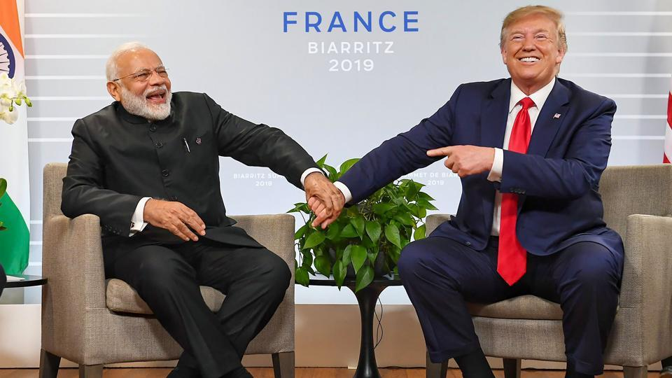 Prime Minister Narendra Modi with US President Donald Trump during a bilateral meeting in the sidelines of G-7 summit in Biarritz, France, Monday, Aug. 26, 2019.