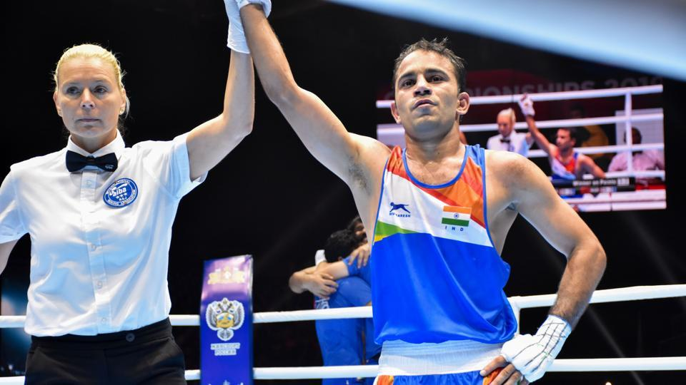 Amit Panghal (52kg) after his bout against Kazakhstan's Saken Bibossinov at World Wrestling Championship 2019.