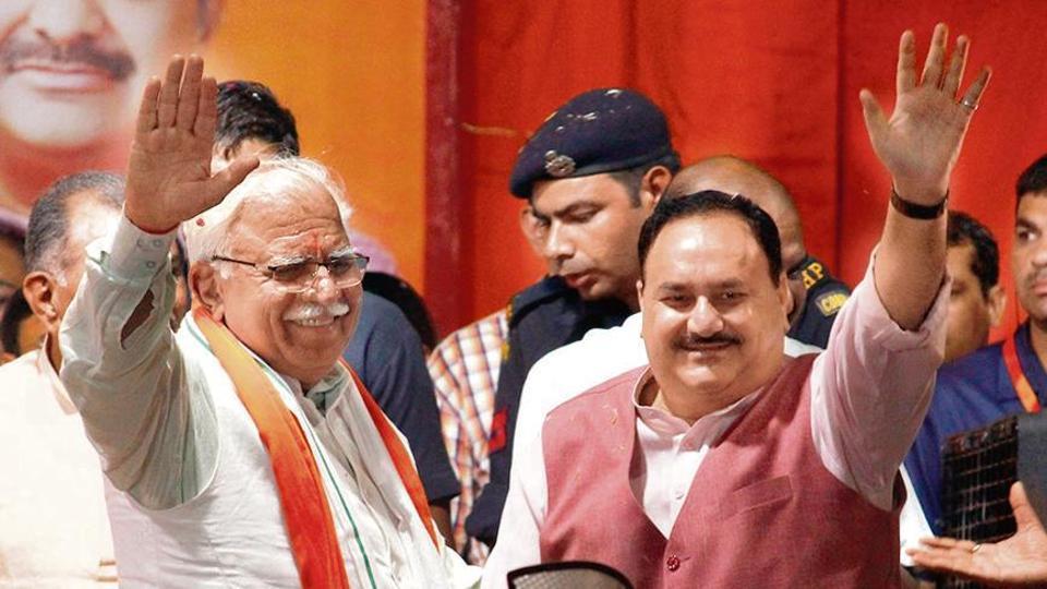 BJP working president J P Nadda and Chief minister Manohar Lal Khattar, seen during the Jan Aashirwad Yatra, at Sadar Bazar, in Gurugram. (Photo by Yogendra Kumar/Hindustan Times)