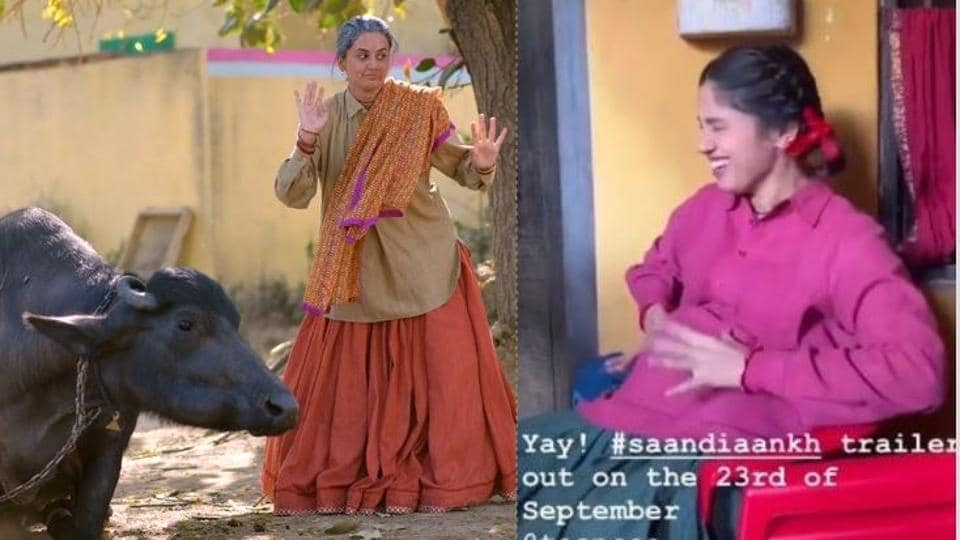 Taapsee Pannu playing with a buffalo and Bhumi Pednekar with her fake baby bump on sets of Saand Ki Aankh.