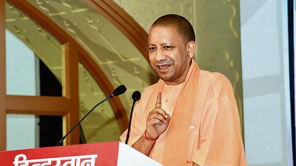 Uttar Pradesh chief minister Yogi Adityanath addresses the audience during the 'Highway of Progress' programme organized by Hindustan, at Agra. (Photo by Ranvijay Singh / Hindustan Times)