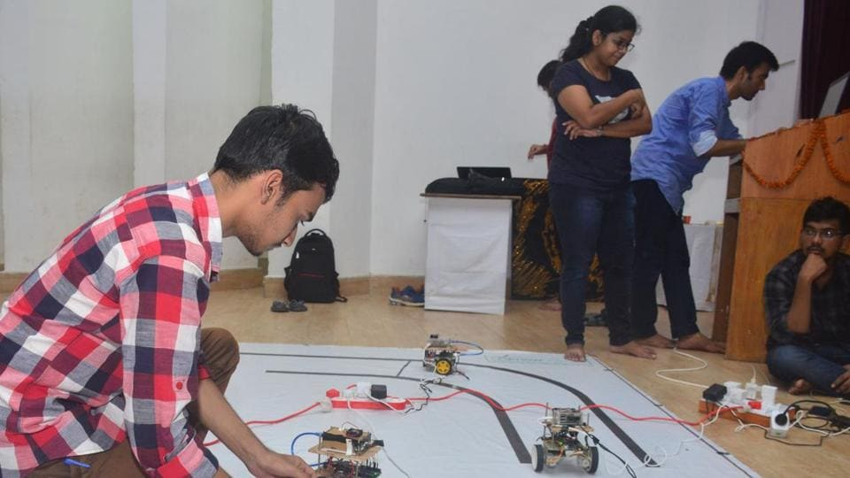Students participating in an event on Saturday.