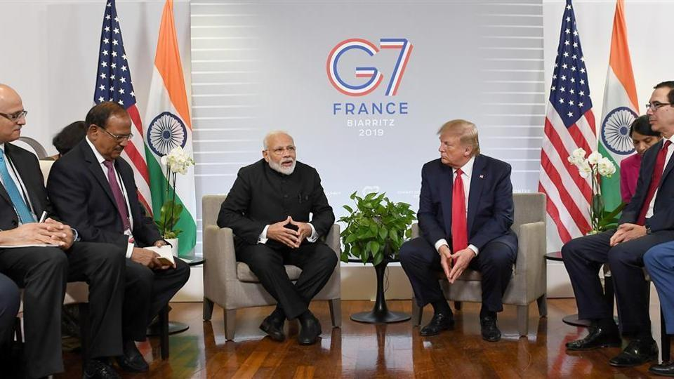 PM Narendra Modi with US President Donald Trump along with NSAChief Ajit Doval, Foreign Secretary Vijay Gokhale, US Treasury Secretary Steve Mnuchin, and other officials met during the G7 Biarritz Summit, France.