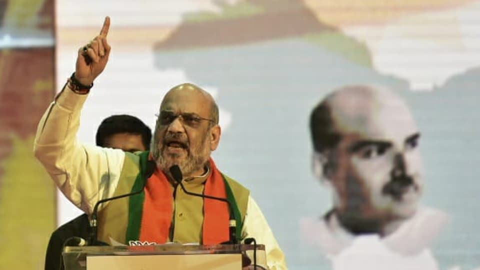 Union Home Minister Amit Shah at an election meeting in Mumbai on Sunday.