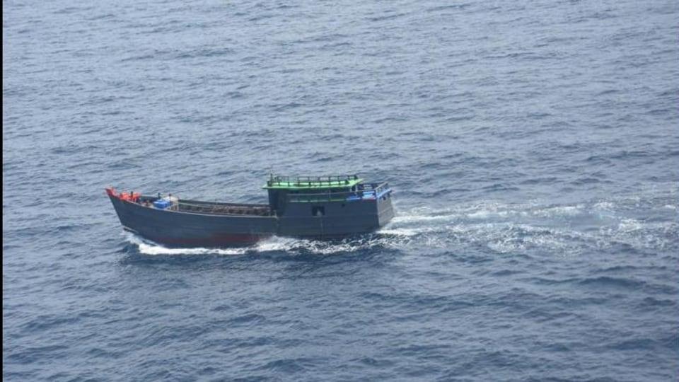 On rummaging the vessel, 57 suspicious gunny bundles were found aboard, the Coast Guard said.