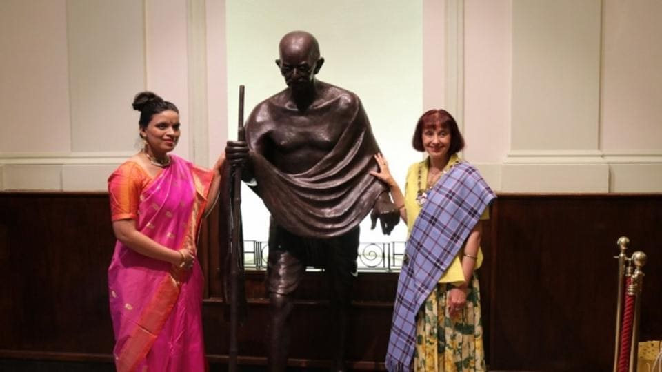 A plaque near the statue bears Gandhi's words: 'There is no way to peace, peace is the way'.