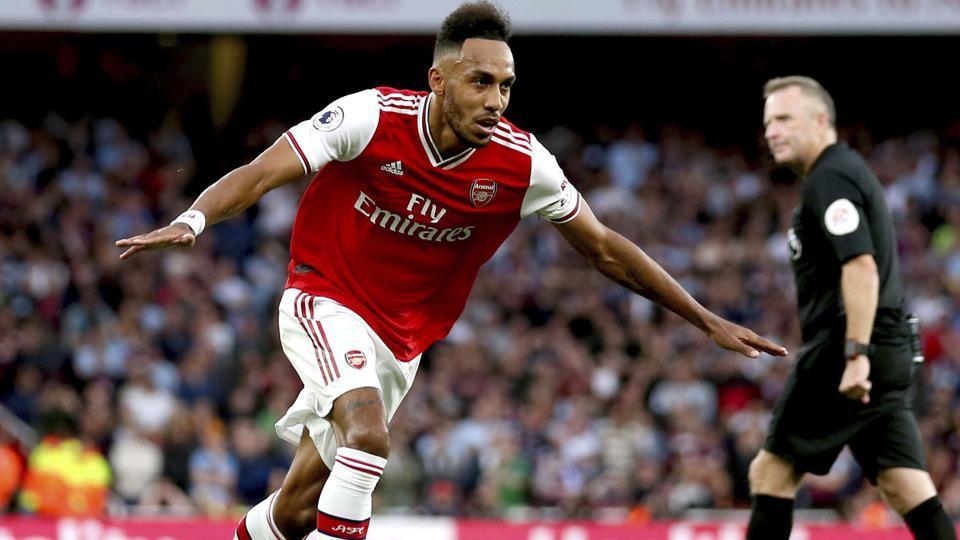 Arsenal's Pierre-Emerick Aubameyang celebrates scoring against Aston Villa.