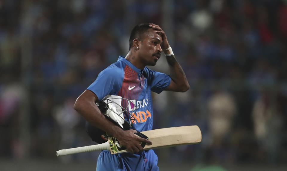 Hardik Pandya reacts as he leaves the field after being dismissed by South Africa's Kagiso Rabada. (AP)