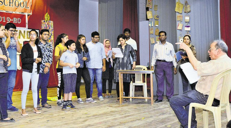 Fr Cyril (right) during the rehearsal of the theatre production, Two by Two, at the Gulati hall in Camp on Friday.