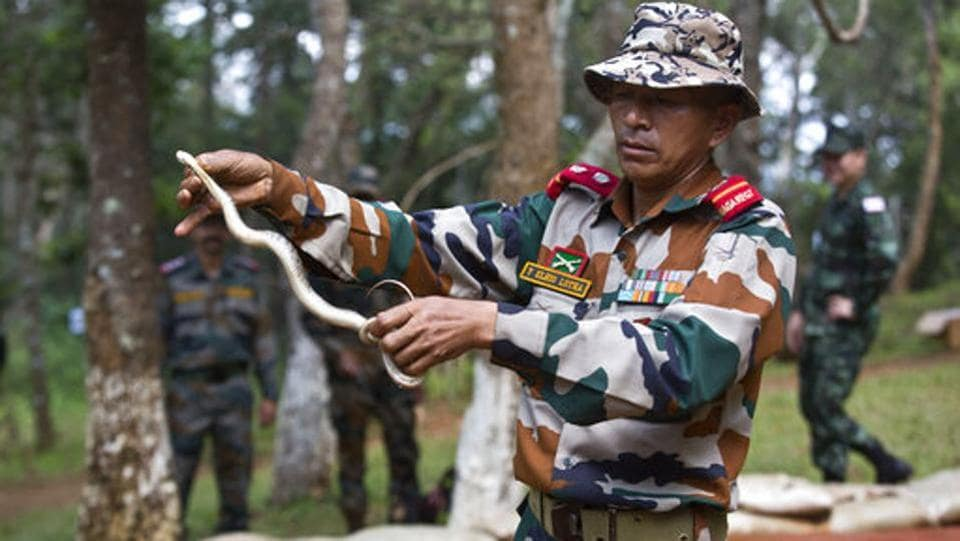An army instructor demonstrates how to catch wild snakes as part of jungle survival training during a joint Royal Thailand Army and Indian army exercise at the Foreign Training Node in Umroi, Meghalaya. (Anupam Nath / AP)