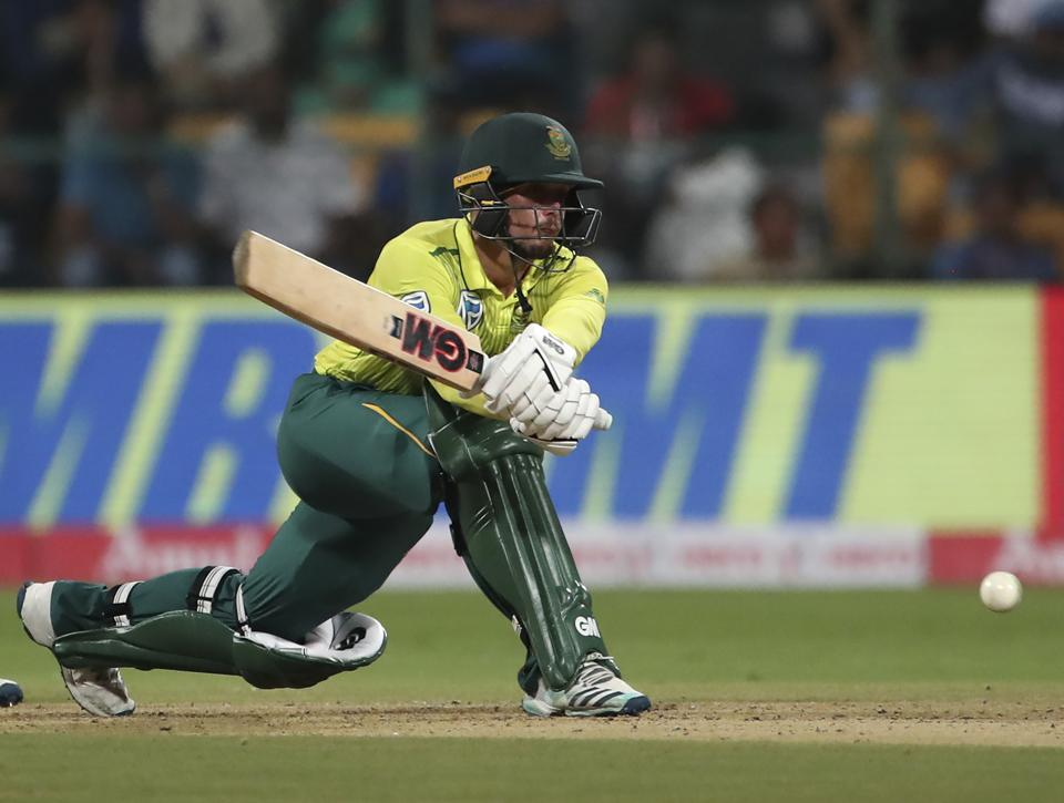 Quinton de Kock bats during the third and last T20 cricket match between India and South Africa. (AP)