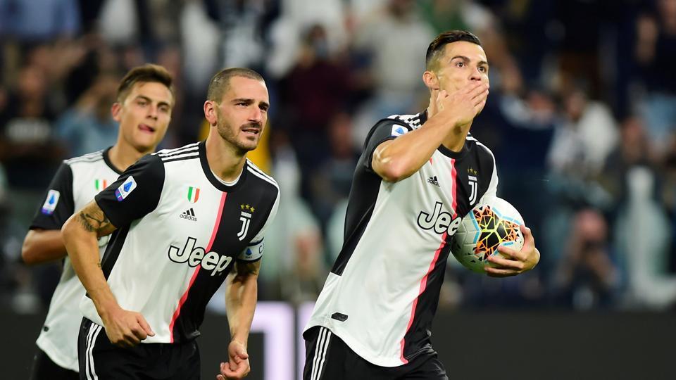 Juventus' Cristiano Ronaldo celebrates scoring their second goal.