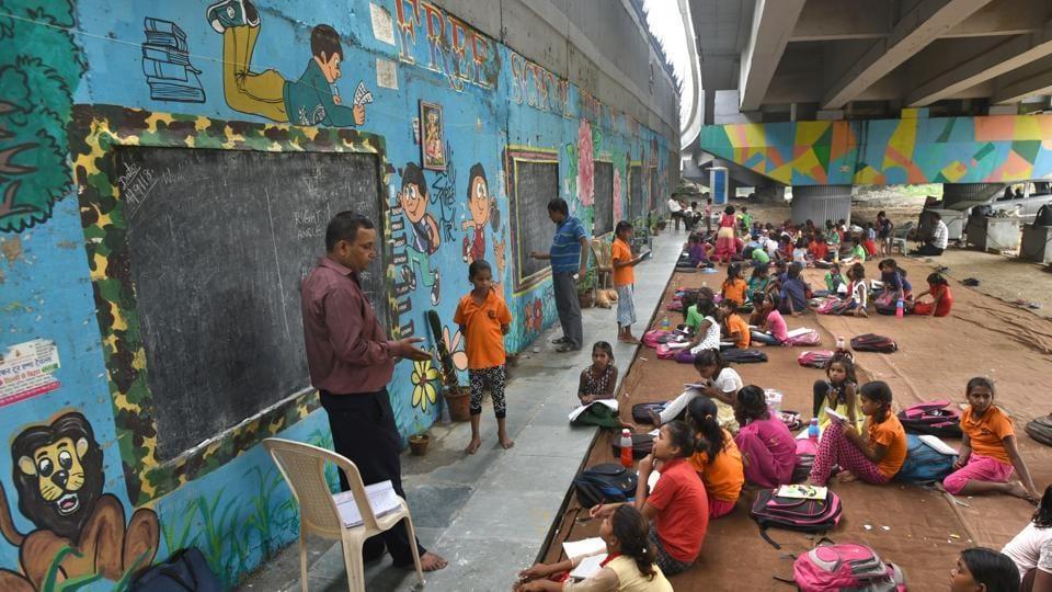 Students study in a school under the metro bridge in Delhi. (Representational image)