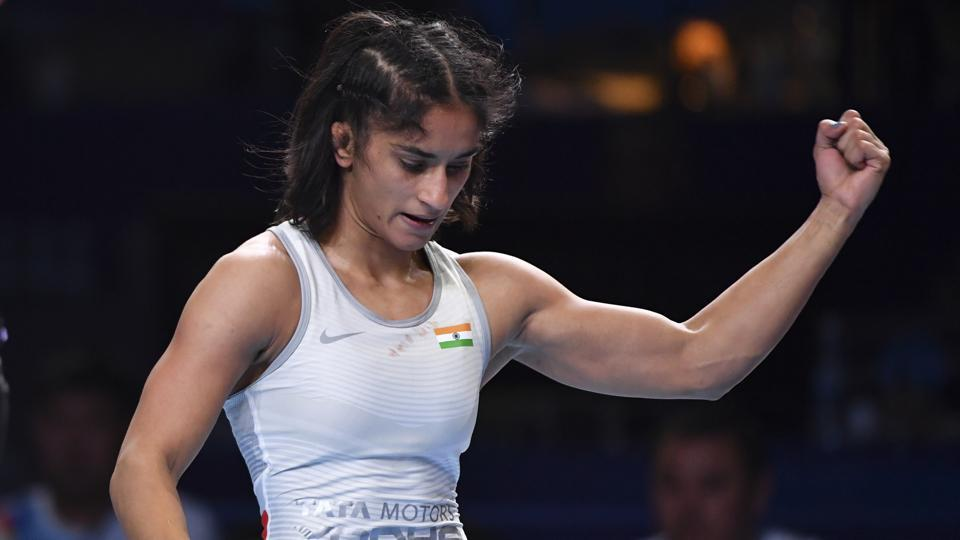 Vinesh Phogat reacts as she won the bronze match of the women's 53kg category against Maria Prevolaraki of Greece during the Wrestling World Championships in Nur-Sultan, Kazakhstan. (Anvar Ilyasov / AP)
