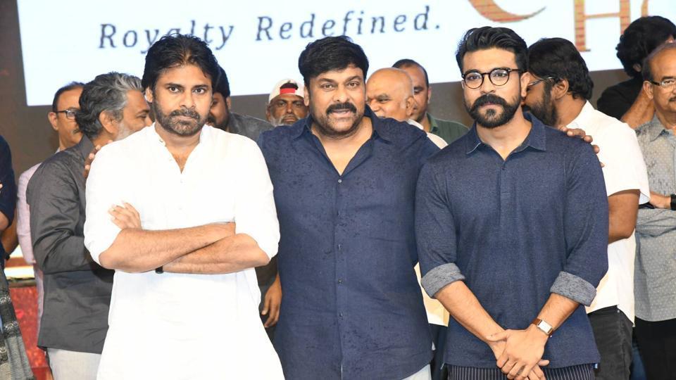 Pawan Kalyan, Chiranjeevi and Ram Charan at Sye Raa Narasimha Reddy pre-release event.