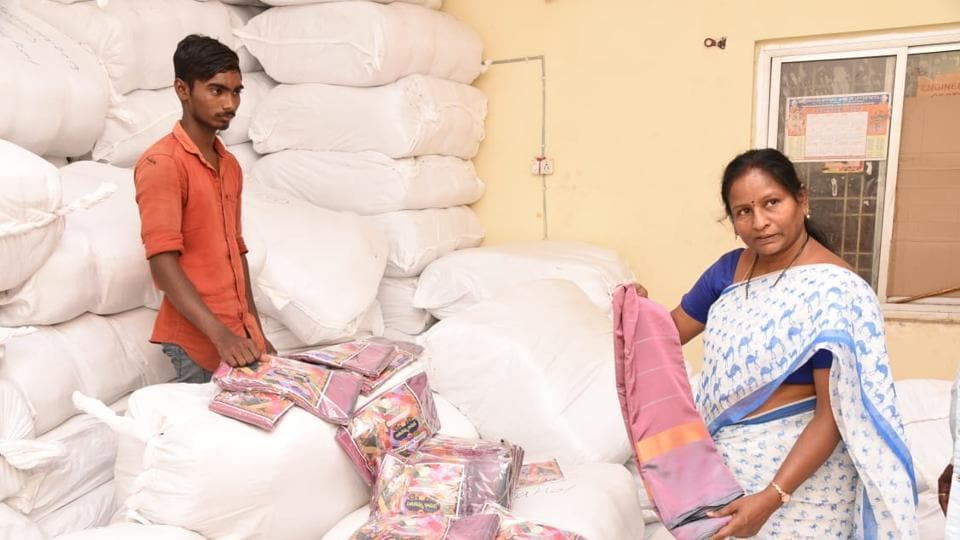 Around 1.02 crore women in Telangana are expected to get the sarees under the TRS government's scheme.
