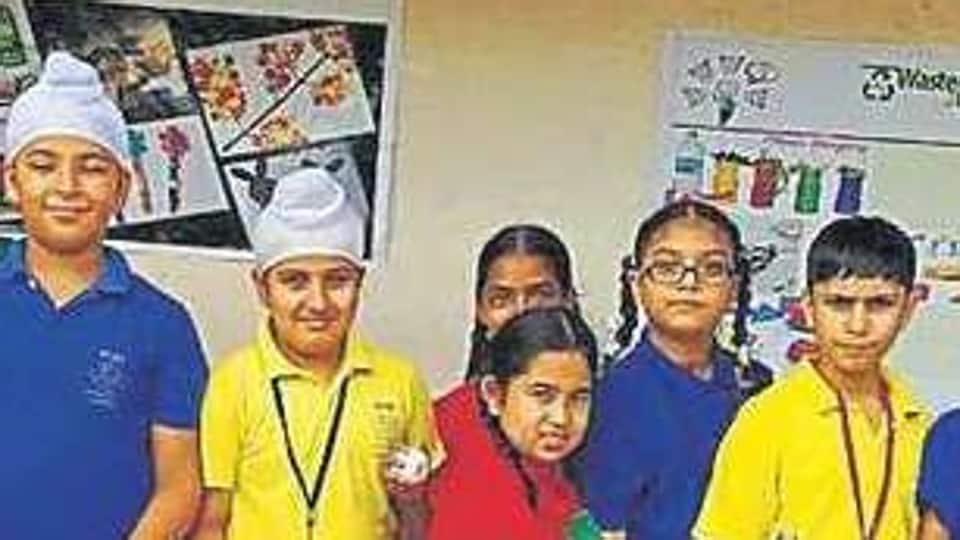 Students of Ryan International School Chandigarh create waste bank.