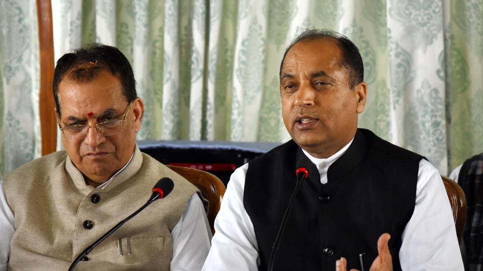 Chief minister Jai Ram Thakur addressing the media during a press conference in Shimla on Monday.
