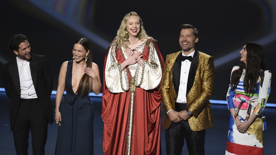 Kit Harington, from left, Emilia Clarke, Gwendoline Christie, Nikolaj Coster-Waldau and Carice van Houten, of the cast of Game of Thrones, appear on stage to present the award for outstanding supporting actress in a limited series or movie at the 71st Primetime Emmy Awards.