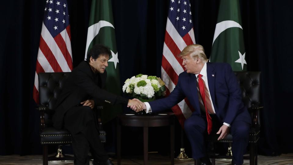 U.S. President Trump meets Pakistan's Prime Minister Khan on sidelines of United Nations General Assembly in New York City.