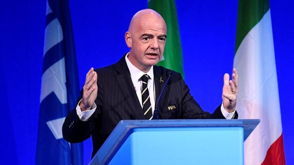 FIFA President Gianni Infantino during the conference.