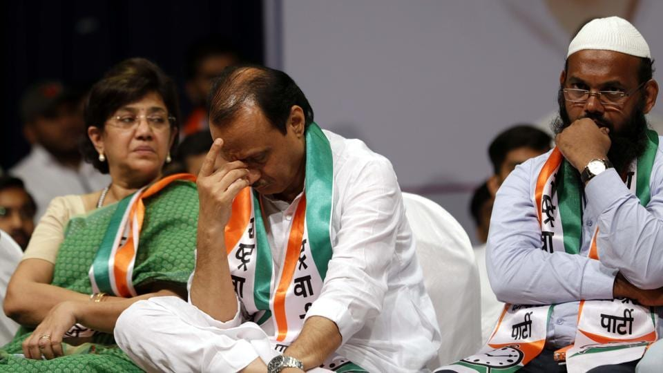 Ajit Pawar at NCP meet at Annabhau Sathe Auditorium in the city on Sunday.