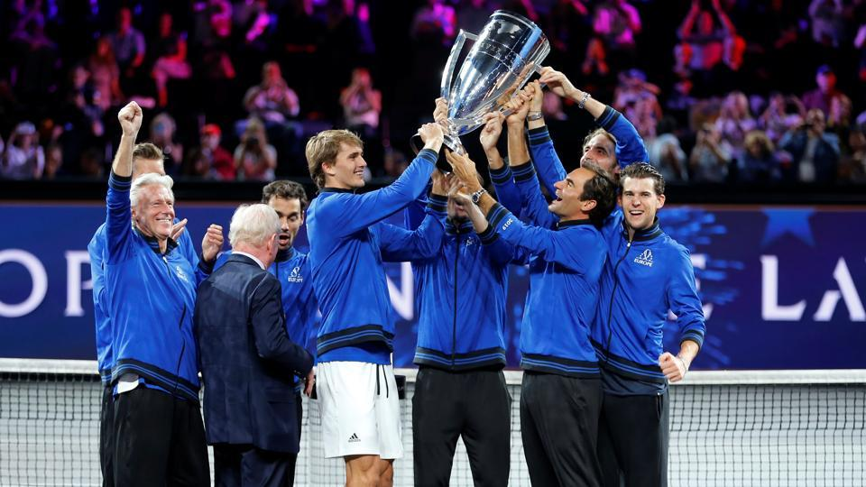 Team Europe lift the trophy after they win the Laver Cup.