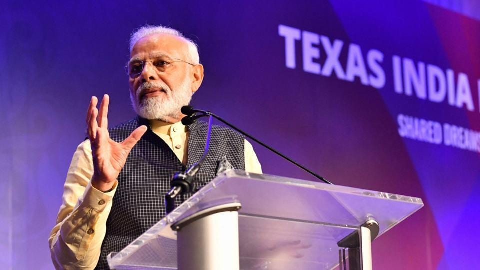 Prime Minister Narendra Modi at the 'Howdy Modi' event in Houston on Sunday.