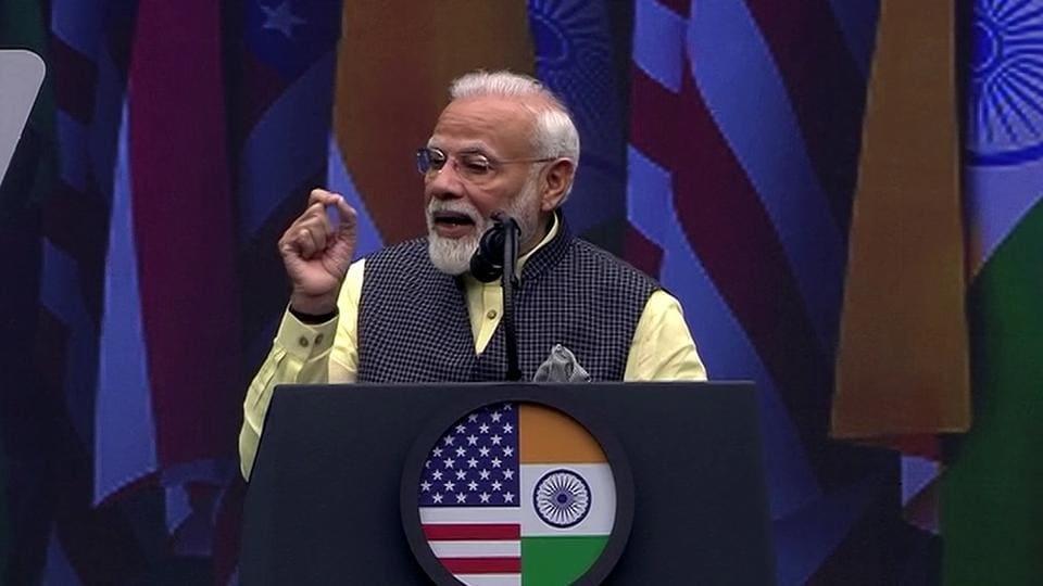 Prime Minister Narendra Modi addresses the Howdy Modi event at NRG Stadium in Houston on Sunday.