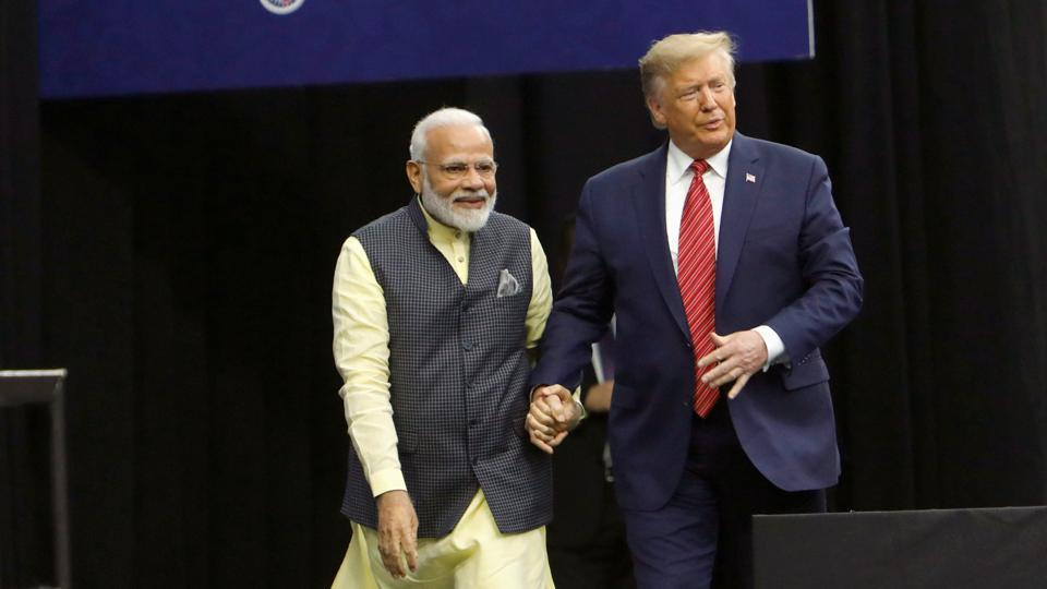 Prime Minister Narendra Modi with USPresident Donald Trump during the