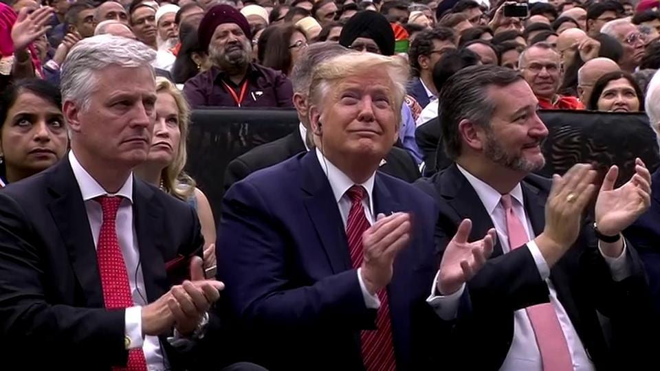 US President Donald Trump during the Howdy Modi event, at NRG Stadium in Houston on Sunday.