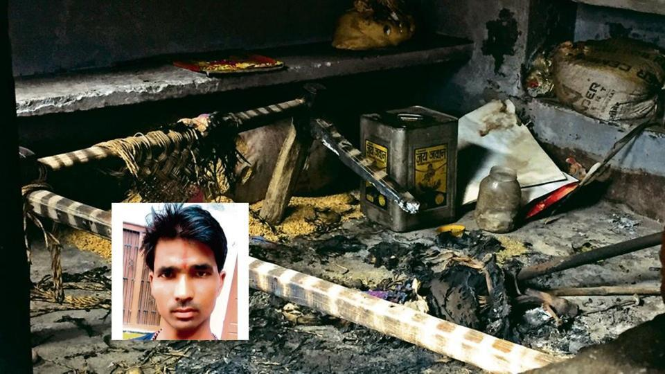 A view of the room in a neighbour's house where Abhishank Pal (inset on left) was allegedly kept in confinement and set afire. His almost-charred body was recovered when passers-by reported a blaze. Pal died on his way to hospital.
