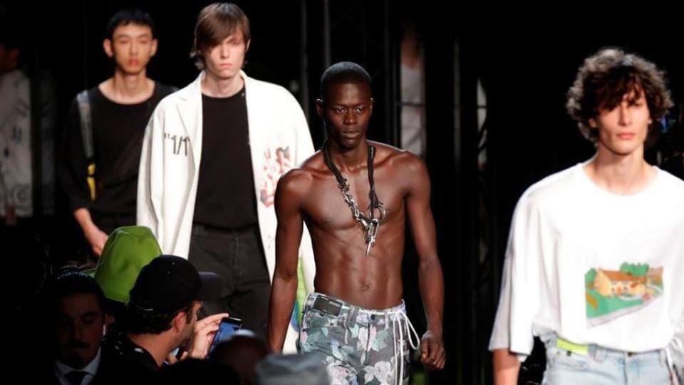 Models present creations by designer Virgil Abloh as part of his Spring/Summer 2019 collection.