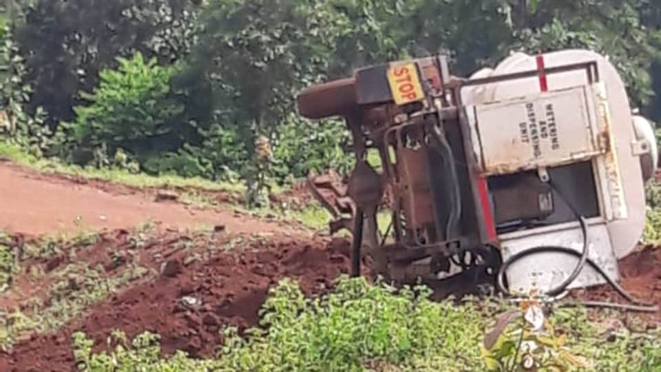 A truck-tanker was blown off in the IEDblast by Maoists in Chhattisgarh's Kanker district, September 24, 2019.