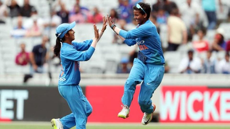 Deepti Sharma celebrates during the T20I encounter between India and South Africa.