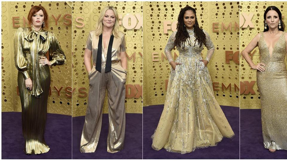 Natasha Lyonne, from Russian Doll, Amy Poehler, director Ava Duvernay, from When They See Us, and Julia Louis-Dreyfus, from Veep. (AP)