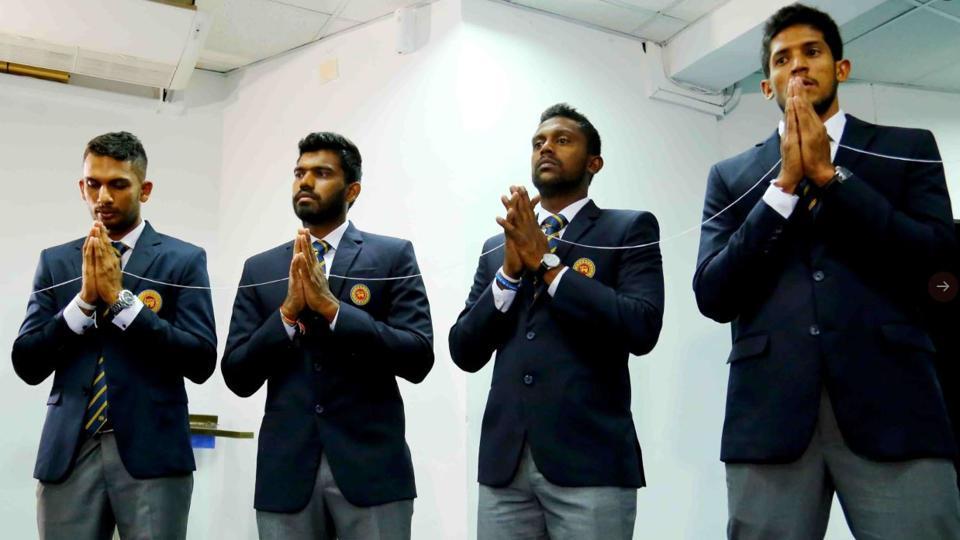 Sri Lanka cricketers before leaving for Pakistan tour