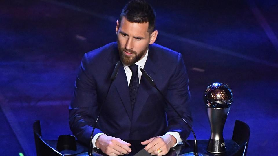 FC Barcelona's Lionel Messi speaks after winning the Best FIFA Men's player award.