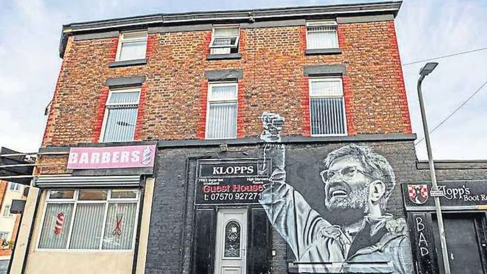 Popular as he is, manager Juergen Klopp features on graffiti in Liverpool