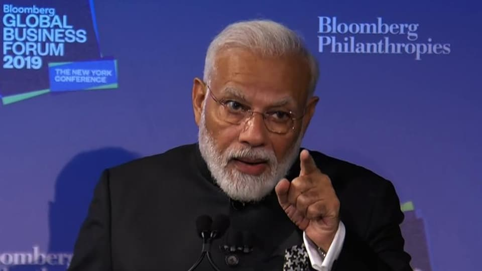 Prime Minister Narendra Modi delivers the keynote address during the 'Bloomberg Global Business Forum' in New York.(ANI Photo)