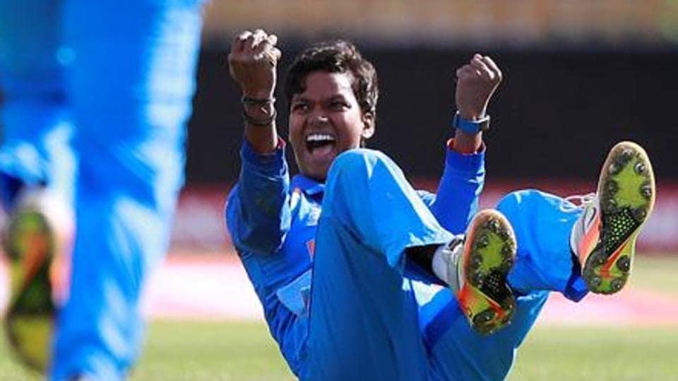 India's Deepti Sharma celebrates taking a wicket