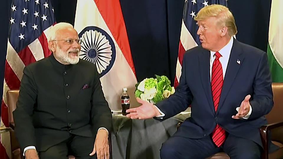 Prime Minister Narendra Modi and US President Donald Trump during a bilateral meeting on the sidelines of UN session in New York on Tuesday. ()