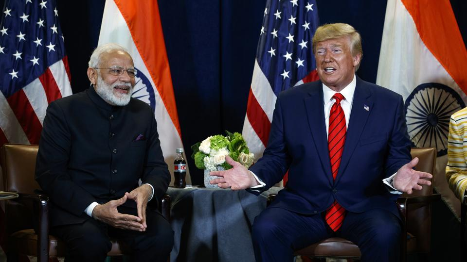 President Donald Trump meets with Indian Prime Minister Narendra Modi at the United Nations General Assembly, September 24, 2019, New York