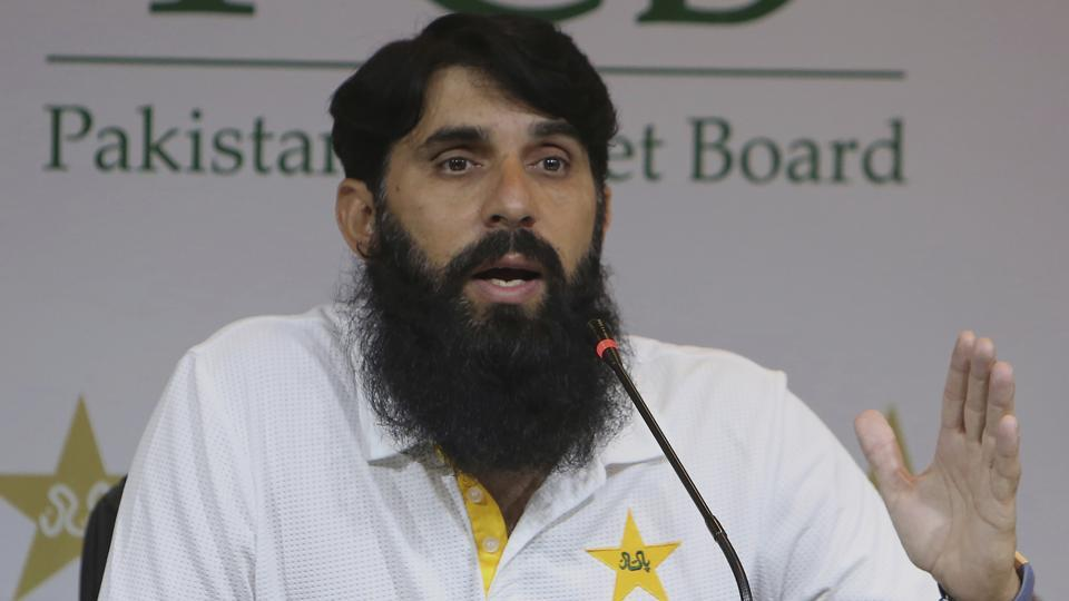 Misbah-ul-Haq, head coach and chief selector of Pakistan Cricket, gestures during a press conference.