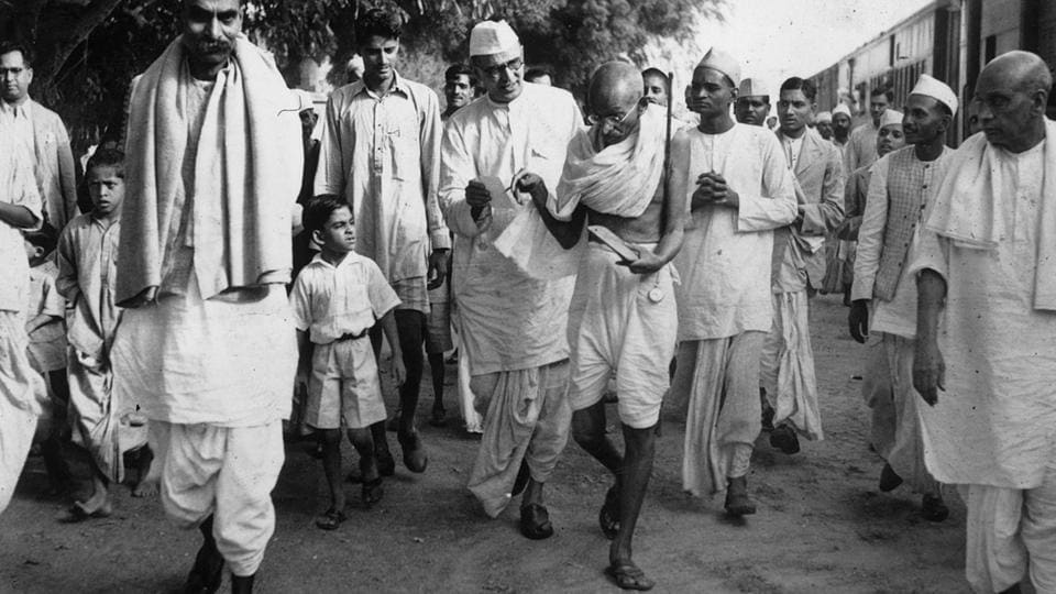 Mahatma Gandhi arrives in Delhi to confer with Viceroy Lord Linlithgow on the Second World War. To his left is Mahadev Desai and further left is Rajendra Prasad, October 1939. Gandhi's first visit to Delhi was in 1915, aged 45 and recently returned from South Africa. He visited the Qutub Minar and the Red Fort. In all, Gandhi passed through the Capital 80 times, his various visits totalling around 700 days. (National Gandhi Museum)