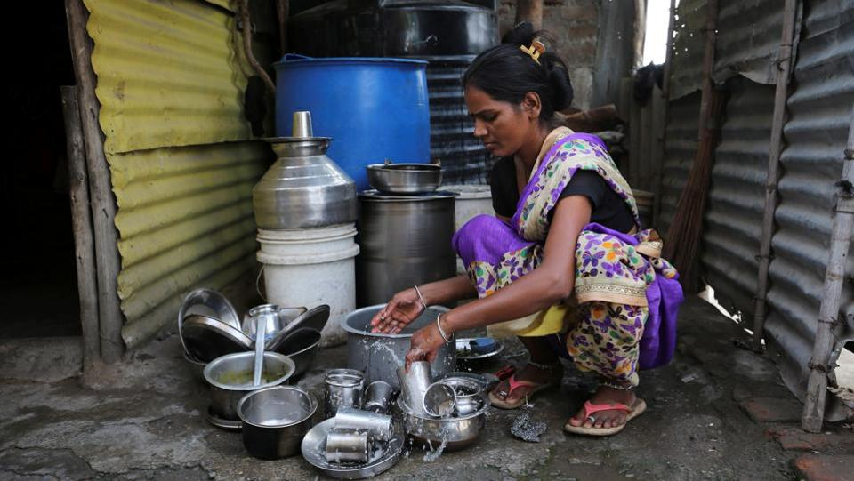 A woman washes utensils outside her house in Aurangabad. These families are not alone. Millions of Indians do not have secure water supplies, according to the UK-based charity, WaterAid. It says 12% of Indians, or about 163 million people, do not have access to clean water near their homes - the biggest proportion of any country. (Francis Mascarenhas / REUTERS)
