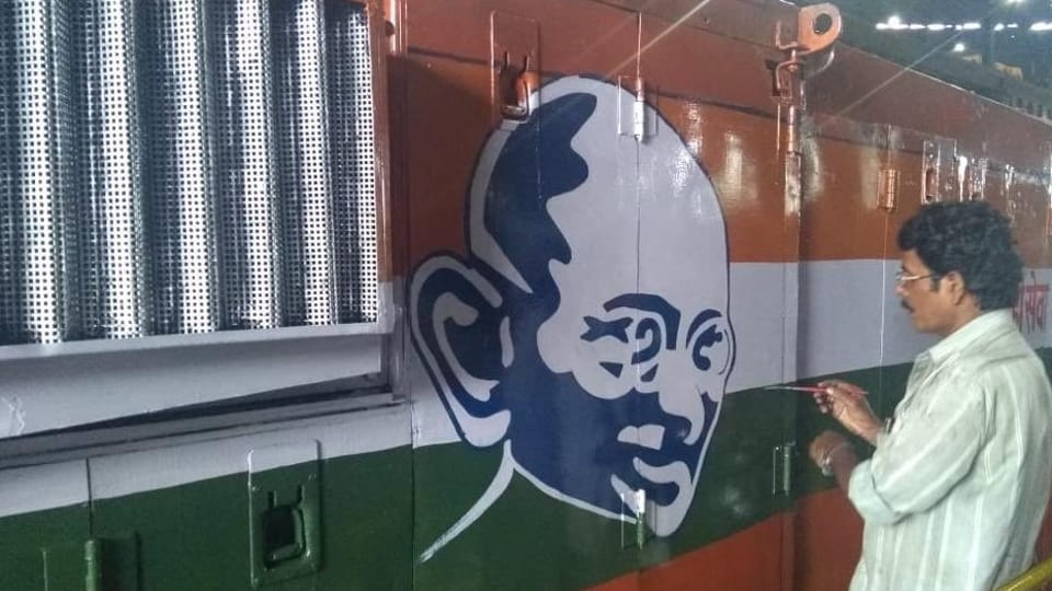 The Central Railways zone is paying tribute to Mahatma Gandhi by painting his picture on the diesel locomotives.
