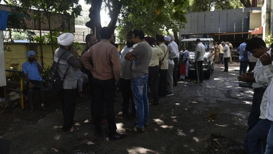 PMC Bank customers file a complaint against the directors at the Sion Police Station in Mumbai.