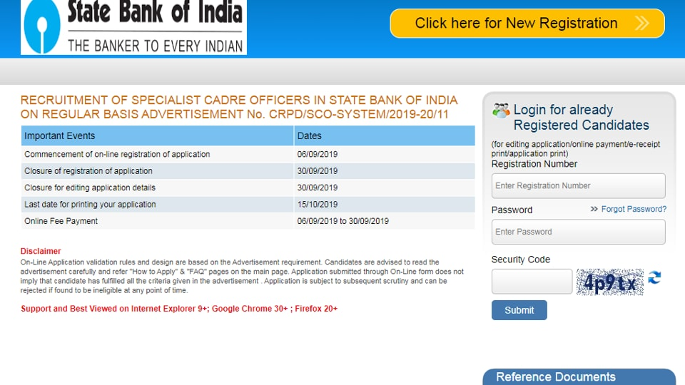 Last date to apply for SBI SCO recruitment examination 2019 has been extended to September 30, 2019. (Screengrab)